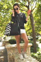 H&M bag - H&M scarf - 7 for all mankind shorts - zeroUV sunglasses