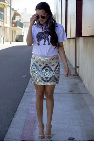 Express skirt - Topshop sunglasses - Qteecom t-shirt - Steve Madden pumps