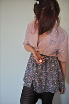 pink Urban Outfitters shirt - purple Forever 21 skirt - black H&M tights