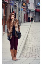 brown fur Joe Fresh vest - bronze riding boots
