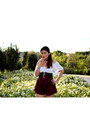 Ruby-red-zaful-shorts-black-corset-zaful-belt-white-brandy-melville-top