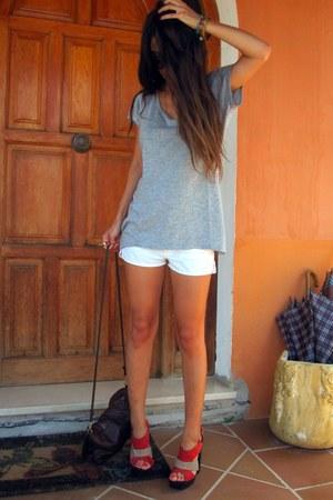 carrot orange Primark heels - dark brown H&M bag - white Zara shorts