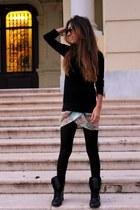 black Primark boots - sky blue Zara skirt - black Dunne Store jumper