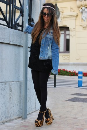 mustard Zara wedges - blue pullandbear jacket - black Zara jumper