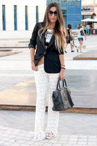 black H&M blazer - silver Primark necklace - white Lady Marshmallow pants