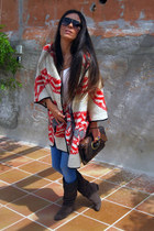 brown Zara boots - blue BLANCO jeans - dark brown Aldo bag - red Zara cape