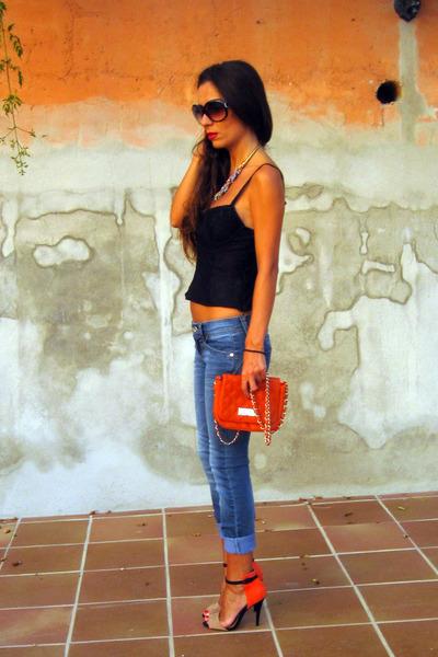 black Zara top - blue Stradivarius jeans - carrot orange Primark bag