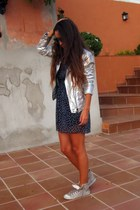 navy candem market dress - silver Zara jacket - silver Zara sneakers