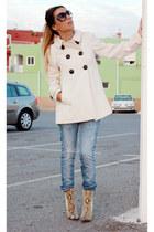 dark khaki Zara boots - eggshell Zara coat