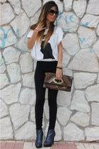 blue Forever21 boots - black Calzedonia leggings - white Zara shirt