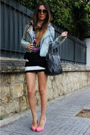 blue pullandbear jacket - black purificacin garca bag - black Zara t-shirt