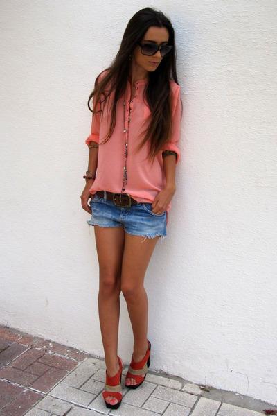 coral Primark blouse - beige Primark heels