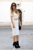 silver Topshop skirt - black Zara boots - silver Topshop top