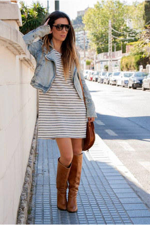 tawny Mango boots - white Zara dress - blue pull&bear jacket