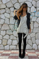 black Zara jacket - black Zara boots - beige Bailly Bijoux dress