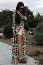 carrot orange Zara dress - eggshell Zara shorts - crimson Zara wedges