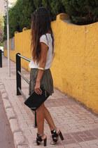 black Zara heels - dark green Zara pants - cream Stradivarius blouse