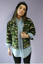 green second hand jacket - black latex leggings - light blue jeans Levis shirt