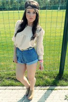 camel Topshop shoes - neutral TK Maxx shirt - sky blue new look shorts
