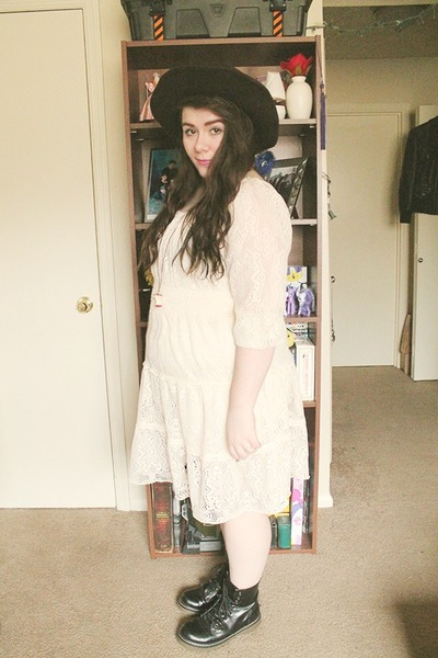 black doc martens boots - eggshell crochet thrifted dress