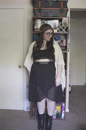 off white thrifted cardigan - black Vinted boots - black midi thrifted skirt
