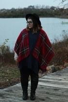 black boots - crimson shawl modcloth coat - navy sweater