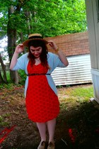 cream boater thrift hat - red sun thrift dress - light blue Target cardigan