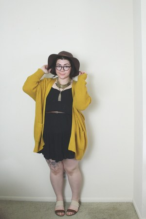 black dress - brown hat - mustard Urban Outfitters cardigan