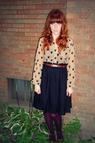 nude modcloth blouse - maroon Target tights - black H&M skirt