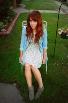 Ruche dress - heather gray Target boots - light blue pacific sunwear shirt