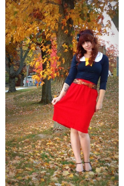 modcloth blouse - Urban Outfitters belt - vintage skirt - Urban Outfitters heels