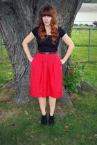red vintage skirt - black Target shirt - Urban Outfitters belt