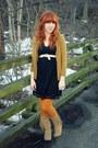 Olive-green-forever21-cardigan-tan-target-boots-black-target-dress