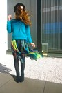 Teal-h-m-sweater-turquoise-blue-runway-bandits-skirt