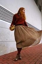 light brown Ebay skirt - brick red LoveClothing jumper