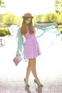 Amethyst-beginning-boutique-dress-camel-romwe-hat-aquamarine-romwe-jacket