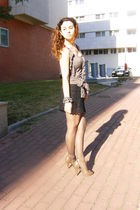 brown Sfera dress - black vintage skirt - brown Sfera shoes