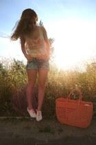 white H&M DIY coral ribbons shoes - coral Oysho bag - sky blue Dongkwang shorts