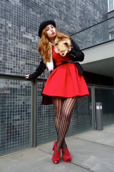 ruby red Zara dress - ruby red ebaycom heels - camel gilbert H&M accessories