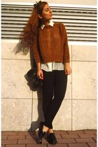 black Pimkie loafers - tawny Bershka sweater - white Stradivarius shirt