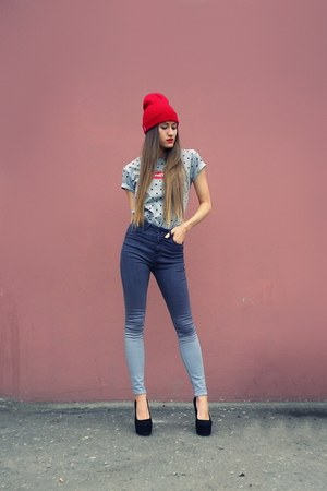 heather gray ombre just female jeans - red 4thes3ts hat