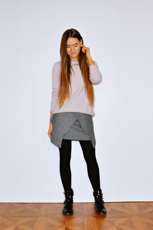 black asos boots - light pink H&M sweater