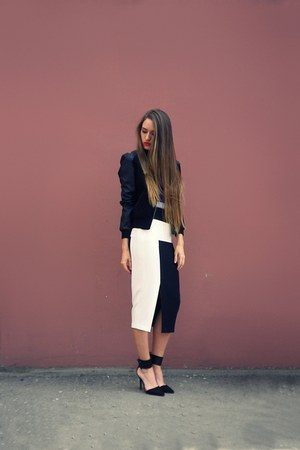 black lindex jacket - black asos skirt - black Zara heels - blue nowIStyle top