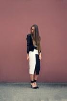 black lindex jacket - black asos skirt - black Zara heels - blue nowIStyle top