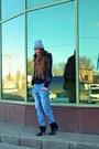 Black-mango-boots-sky-blue-asos-jeans