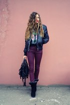 black unknown boots - maroon Massimo Dutti jeans - black unknown brand jacket
