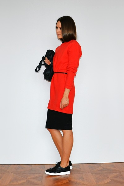 black Cheap Monday bag - red asos dress - black Stradivarius loafers