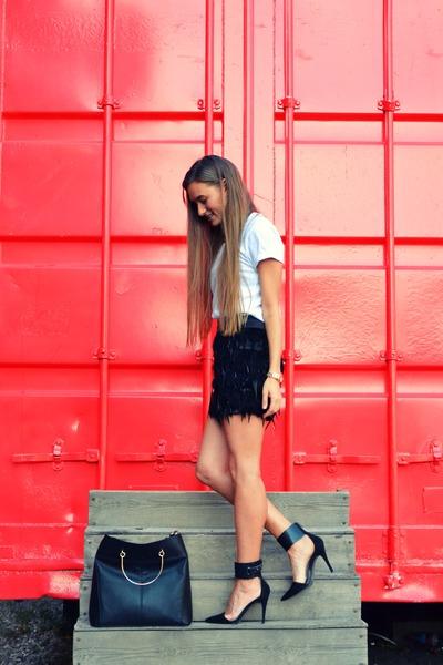 black Mango bag - black Zara heels