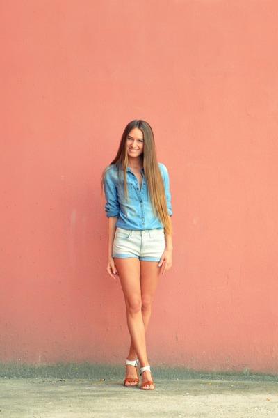 sky blue Mango shirt