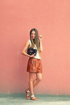 brown faux leather Zara shorts - dark brown Topshop bag - ivory Zara top
